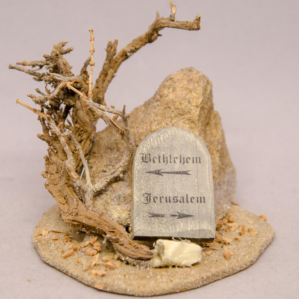 Wegweiser Bethlehem/Jerusalem auf Holzplatte