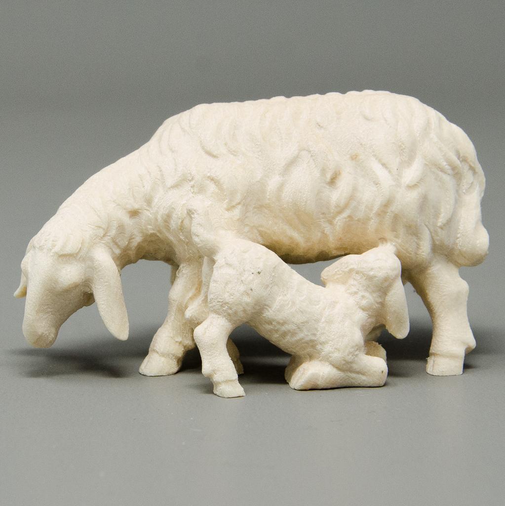 Schaf mit trinkendem Lamm