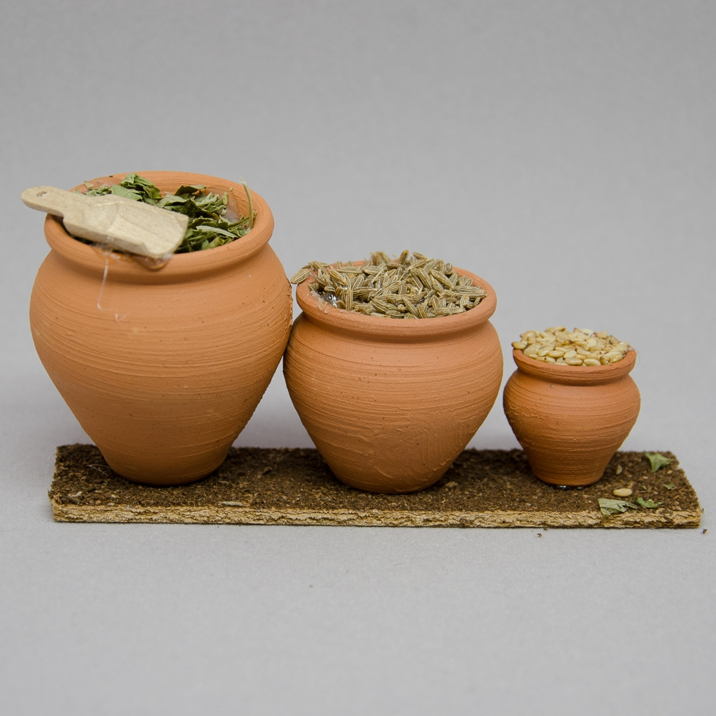 Keramiktöpfe antikisiert mit Gewürze 3er Set