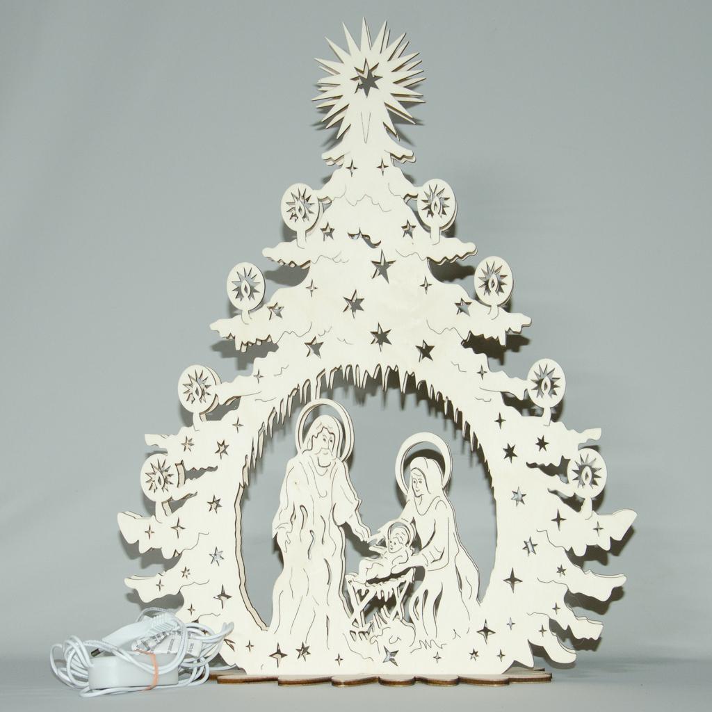 Heilige Familie in Tanne, elektrisch beleuchtet