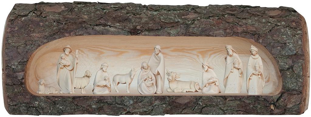 Krippenfiguren 11-teilig in Baumstamm